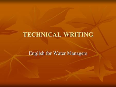 English for Water Managers
