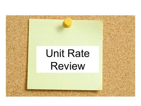 Unit Rate Review. Vocabulary Review A ratio is a comparison of two quantities by division. ̶17 out of 20 students, or A rate is a special type of ratio.