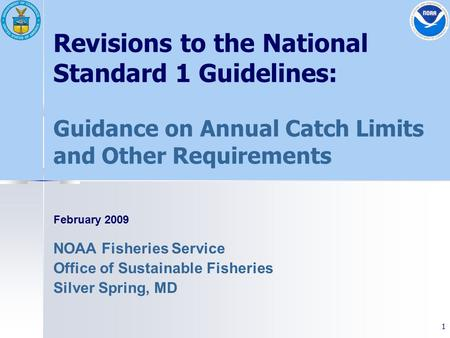 1 Revisions to the National Standard 1 Guidelines: Guidance on Annual Catch Limits and Other Requirements February 2009 NOAA Fisheries Service Office of.
