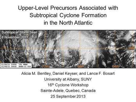 Upper-Level Precursors Associated with Subtropical Cyclone Formation in the North Atlantic Alicia M. Bentley, Daniel Keyser, and Lance F. Bosart University.