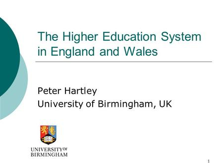 1 The Higher Education System in England and Wales Peter Hartley University of Birmingham, UK.