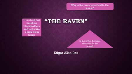 """The Raven"" Edgar Allan Poe Why is the raven important to the poem?"