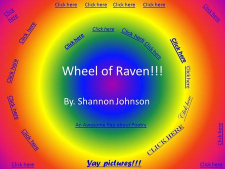 Wheel of Raven!!! By. Shannon Johnson Click here Click here Click here Click here Click here Click here Yay pictures!!! Click here An Awesome Rap about.