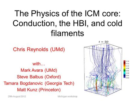 The Physics of the ICM core: Conduction, the HBI, and cold filaments Chris Reynolds (UMd) with… Mark Avara (UMd) Steve Balbus (Oxford) Tamara Bogdanovic.