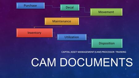 CAM DOCUMENTS CAPITAL ASSET MANAGEMENT (CAM) PROCESSOR TRAINING 1 Purchase Decal Movement Maintenance Inventory Utilization Disposition.