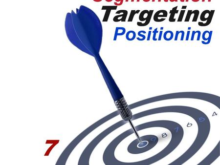 Segmentation Targeting Positioning 7. 7- 1 Definition Market Segmentation:  Dividing a market into distinct groups with distinct needs, characteristics,