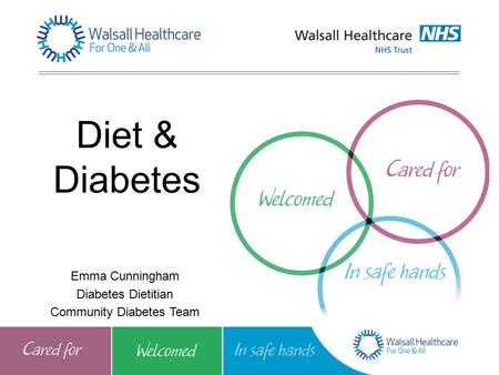 Diet & Diabetes Emma Cunningham Diabetes Dietitian Community Diabetes Team.