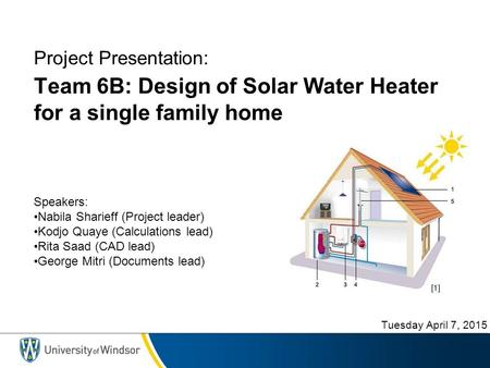 Team 6B: Design of Solar Water Heater for a single family home Speakers: Nabila Sharieff (Project leader) Kodjo Quaye (Calculations lead) Rita Saad (CAD.
