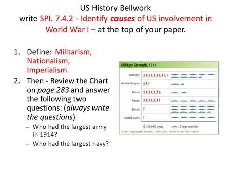 US History Bellwork write SPI. 7.4.2 - Identify causes of US involvement in World War I – at the top of your paper. 1.Define: Militarism, Nationalism,