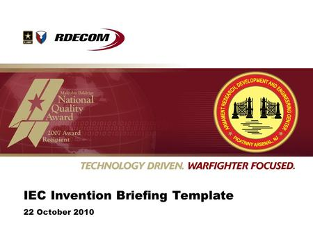 IEC Invention Briefing Template 22 October 2010. Summary of Invention Lead with a short summary of the invention before you get into the details of the.