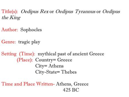 immoral relationship and responsibility in oedipus the king a play by sophocles