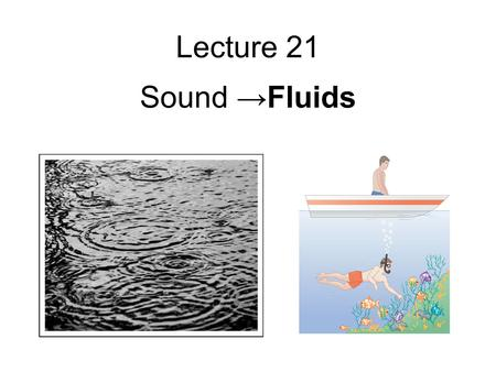 Lecture 21 Sound →Fluids. Standing Waves I A string is clamped at both ends and plucked so it vibrates in a standing mode between two extreme positions.