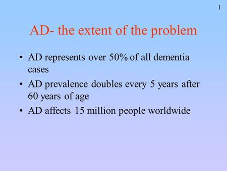 1 AD- the extent of the problem AD represents over 50% of all dementia cases AD prevalence doubles every 5 years after 60 years of age AD affects 15 million.