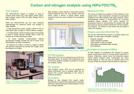 Carbon and nitrogen analysis using HiPerTOC/TN b Figure 1. The Thermo HiPerTOC and Total Nitrogen analyser in the Physical Geography laboratories The HiPerTOC/TN.