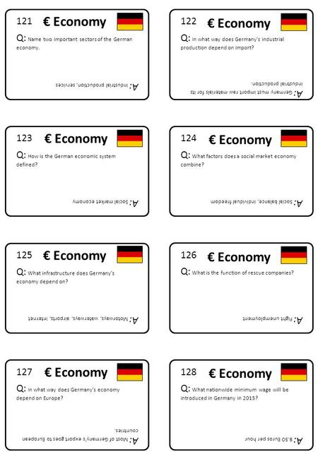 128 Q: What nationwide minimum wage will be introduced in Germany in 2015? A: 8.50 Euros per hour 127 Q: In what way does Germany's economy depend on Europe?