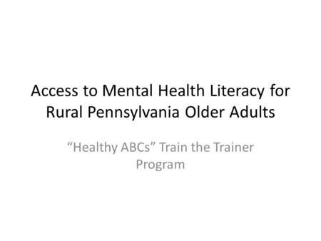 older adults literacy for Information
