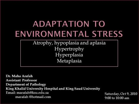 Adaptation to environmental stress