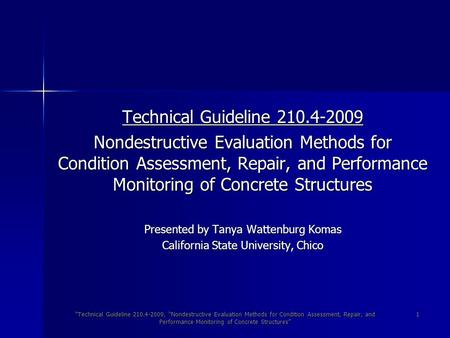 """Technical Guideline 210.4-2009, ""Nondestructive Evaluation Methods for Condition Assessment, Repair, and Performance Monitoring of Concrete Structures"""