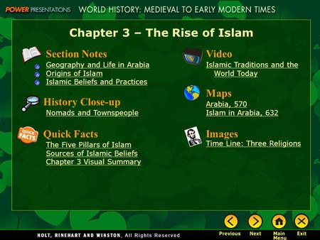 Chapter 3 – The Rise of Islam Section Notes Geography and Life in Arabia Origins of Islam Islamic Beliefs and Practices Video Islamic Traditions and the.