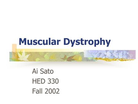 Muscular Dystrophy Ai Sato HED 330 Fall 2002. Definition Muscular dystrophy is a group of disorders recognized by progressive muscle weakness and loss.