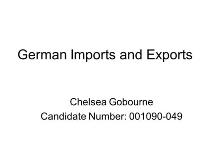 German Imports and Exports