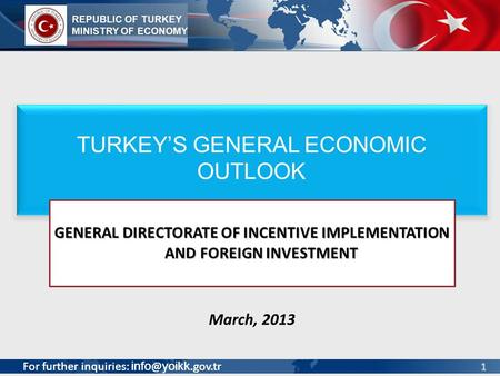 GENERAL DIRECTORATE OF INCENTIVE IMPLEMENTATION AND FOREIGN INVESTMENT
