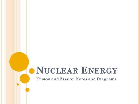 N UCLEAR E NERGY Fusion and Fission Notes and Diagrams.