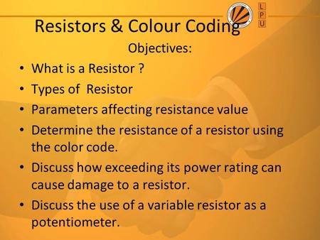 Resistors & Colour Coding