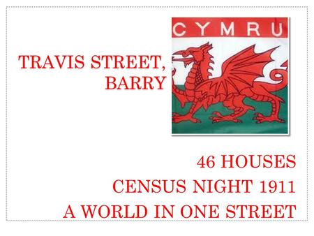 46 HOUSES CENSUS NIGHT 1911 A WORLD IN ONE STREET TRAVIS STREET, BARRY.