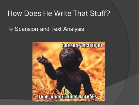 How Does He Write That Stuff?  Scansion and Text Analysis.