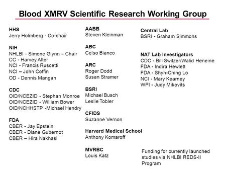 Blood XMRV Scientific Research Working Group Funding for currently launched studies via NHLBI REDS-II Program Central Lab BSRI - Graham Simmons NAT Lab.