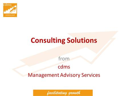 Consulting Solutions from cdms Management Advisory Services.