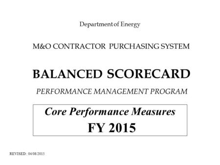 Core Performance Measures FY 2015