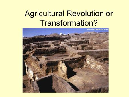 Agricultural Revolution or Transformation?. The Technology of Paleolithic Societies Early tools - wood, bones, animal skins, and stone, Tools provided.