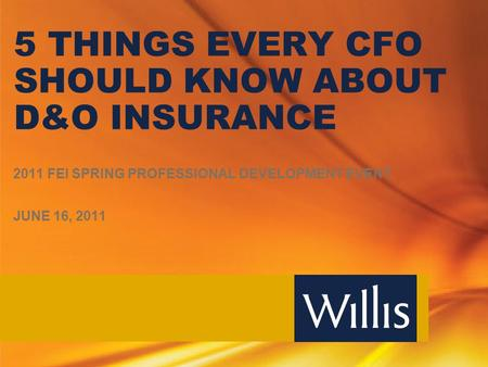 5 THINGS EVERY CFO SHOULD KNOW ABOUT D&O INSURANCE 2011 FEI SPRING PROFESSIONAL DEVELOPMENT EVENT JUNE 16, 2011.