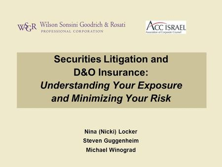 Securities Litigation and D&O Insurance: Understanding Your Exposure and Minimizing Your Risk Nina (Nicki) Locker Steven Guggenheim Michael Winograd.