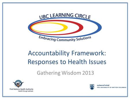 Accountability Framework: Responses to Health Issues Gathering Wisdom 2013.