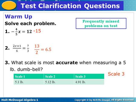Test Clarification Questions Frequently missed problems on test