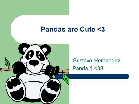 Pandas are Cute <3 Gustavo Hernandez Panda :] <33.