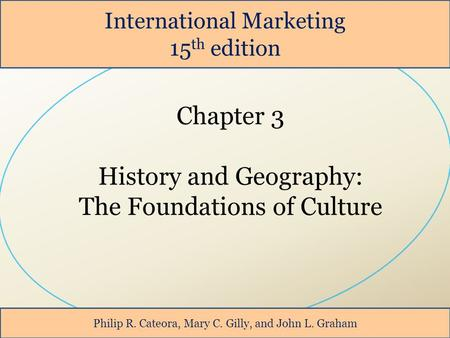 International Marketing 15 th edition Philip R. Cateora, Mary C. Gilly, and John L. Graham.