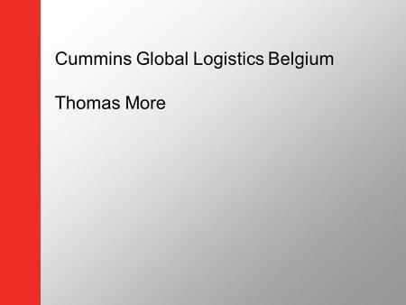 Cummins Global Logistics Belgium