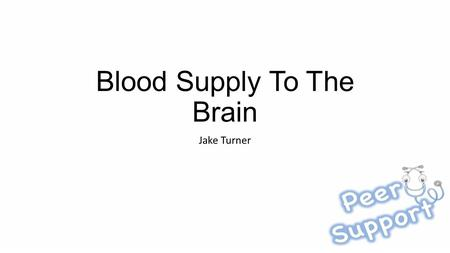 Blood Supply To The Brain Jake Turner. Learning Objectives Understand the basic blood supply of the brain Understand how to localise blockages of arteries.