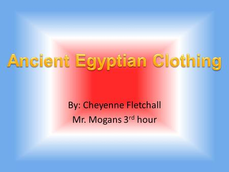 By: Cheyenne Fletchall Mr. Mogans 3 rd hour Egyptians wore a lot of stuff like the picture below.