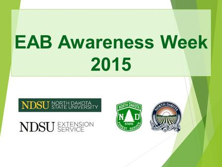 EAB Awareness Week 2015. The Threat of Emerald Ash Borer and The Benefits of Preparing Your Community North Dakota Forest Service May 2014.