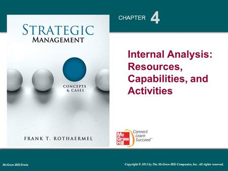 4 CHAPTER McGraw-Hill/Irwin Copyright © 2013 by The McGraw-Hill Companies, Inc. All rights reserved. Internal Analysis: Resources, Capabilities, and Activities.
