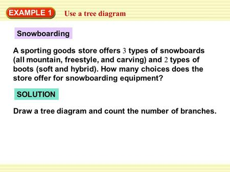 EXAMPLE 1 Use a tree diagram Snowboarding