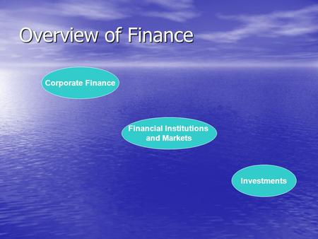 Overview of Finance Corporate Finance Financial Institutions and Markets Investments.