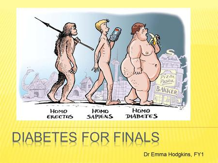 Dr Emma Hodgkins, FY1.  Globally 285 million people currently have diabetes, which is estimated to double by 2030.  UK prevalence 4.5% (5.5% in England)