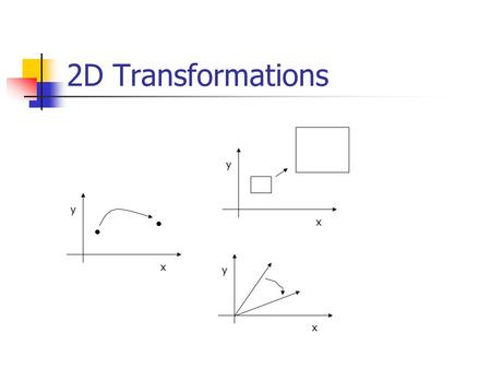 2D Transformations x y x y x y. 2D Transformation Given a 2D object, transformation is to change the object's Position (translation) Size (scaling) Orientation.