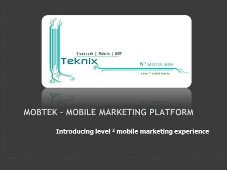 Introducing level 2 mobile marketing experience MOBTEK – MOBILE MARKETING PLATFORM.